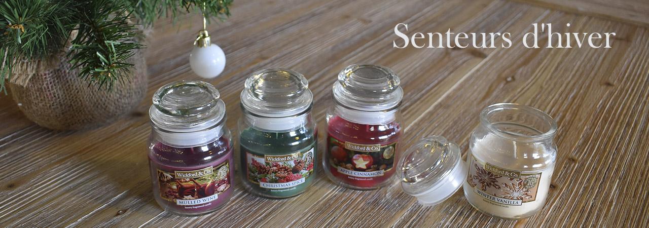 bougies parfumées aux senteurs d'hiver