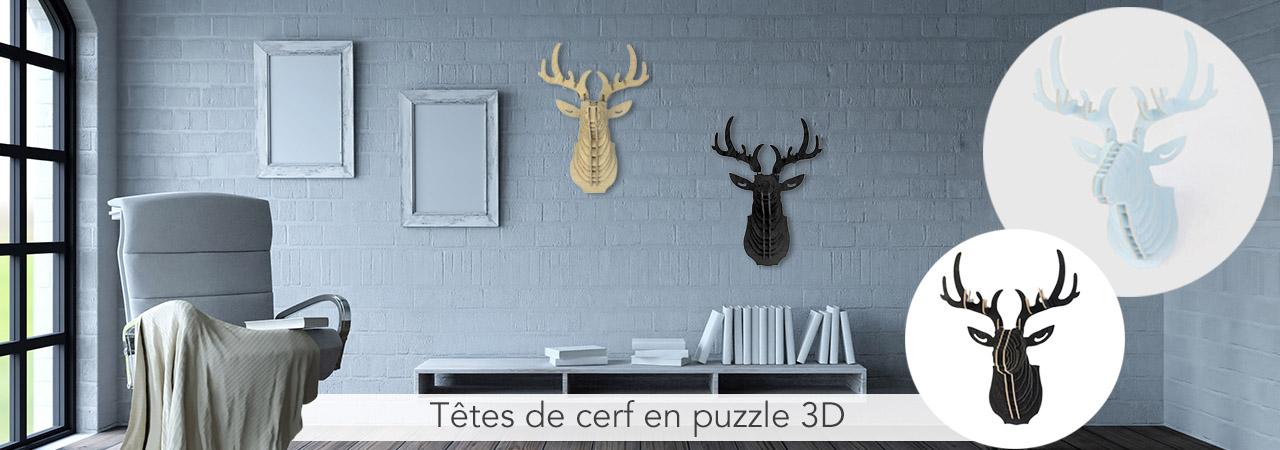 Têtes de cerf en puzzle 3D