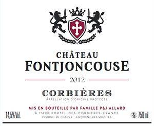 AOC Corbières rouge 2012 Château Fontjoncouse