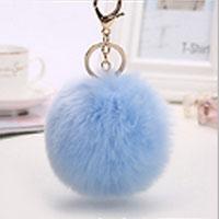 porte-clés pompon bleu ciel