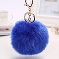porte-clés pompon bleu marine