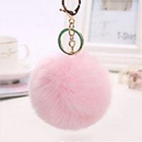 porte-clés pompon rose pâle