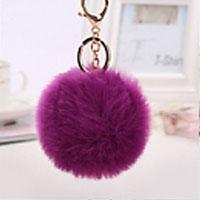 porte-clés pompon violet