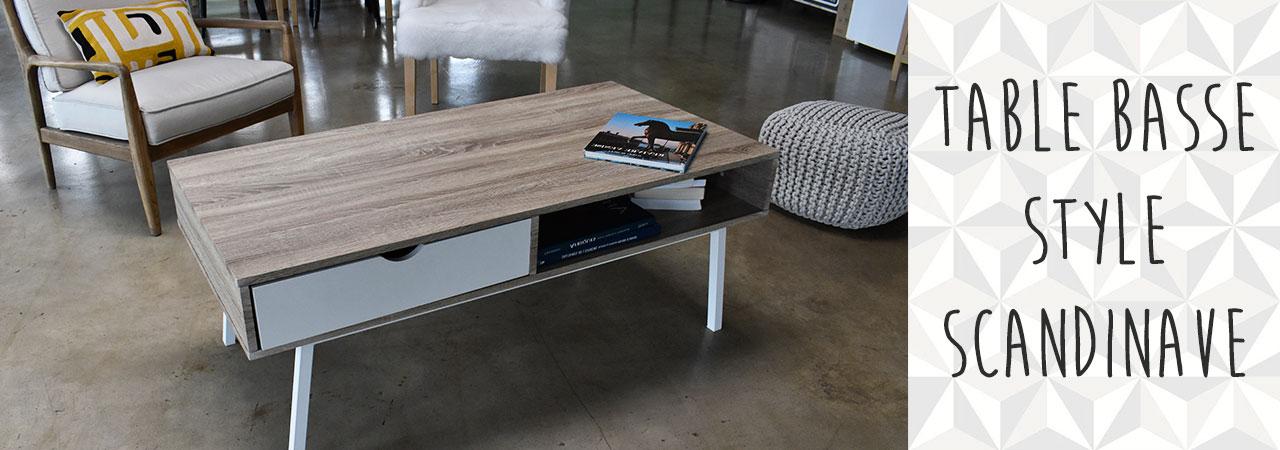 Table basse scandinave avec tiroir et niche nozarrivages Table basse scandinave avec tiroir
