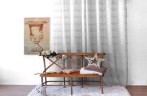rideau blanc argent