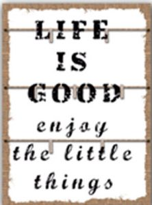 Life is good, enjoy the little things.