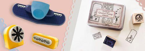 perforatrices, tampons encreurs, peinture acrylique, perles de verre