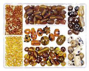 perles de verre marron