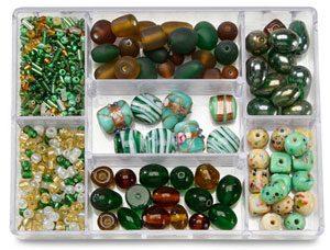 perles de verre vertes
