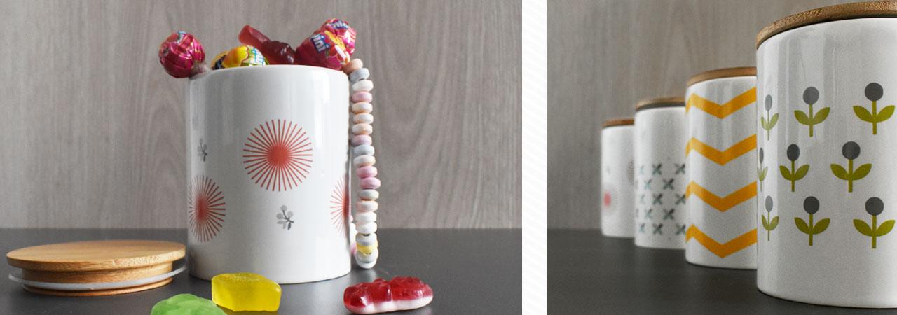 pots en porcelaine avec couvercle en bois