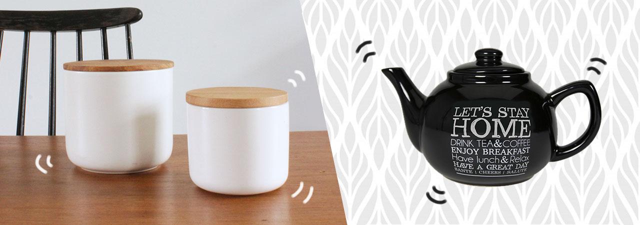 pots en céramique avec couvercle en bambou