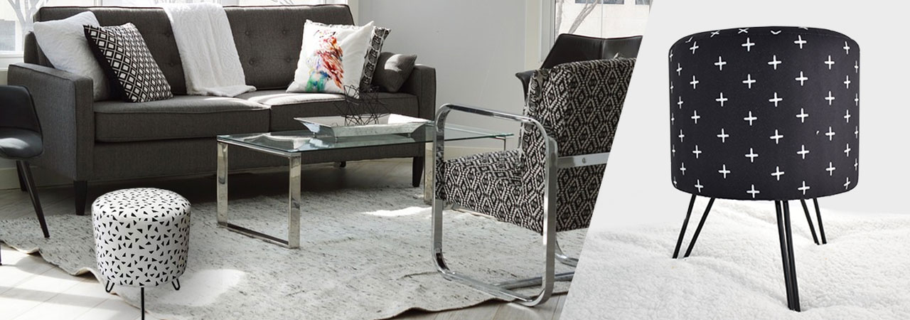 tabouret en tissu noir et blanc esprit graphique. Black Bedroom Furniture Sets. Home Design Ideas