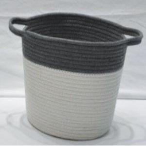corbeille à linge avec anses anthracite et blanc