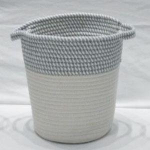 corbeille à linge avec anses gris et blanc