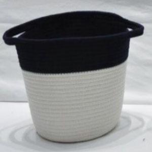corbeille à linge avec anses noir et blanc