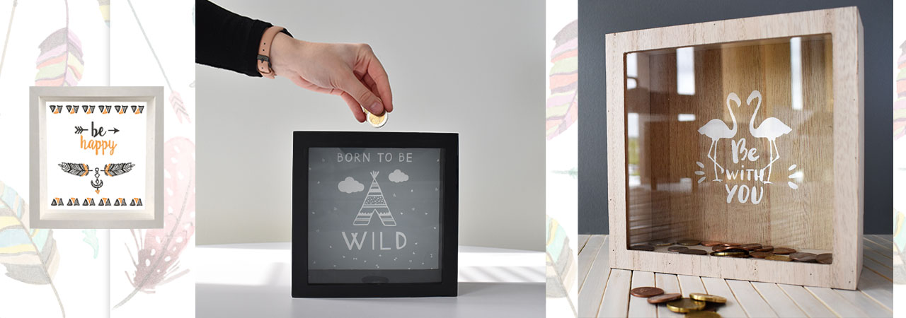 tirelires cagnottes d co avec vitre nozarrivages. Black Bedroom Furniture Sets. Home Design Ideas