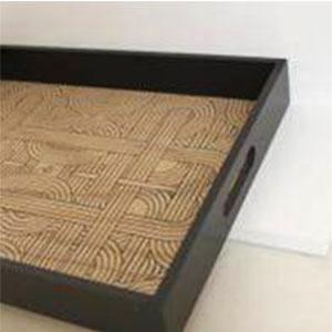 plateau en bois cadre noir