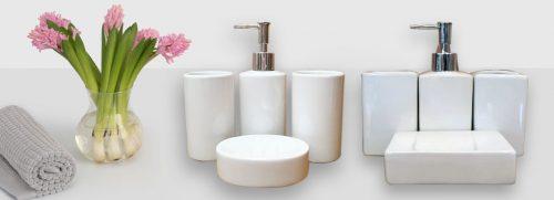 accessoires de salle de bain en céramique blanche