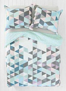parure de lit triangles gris bleus