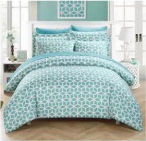 parure de lit bleu vert