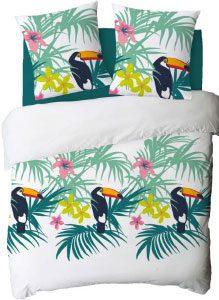 parure drap motifs toucan