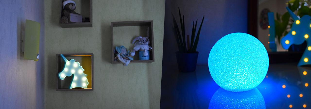 licornes et boules lumineuses à LED