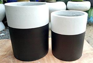 pot ciment bicolore