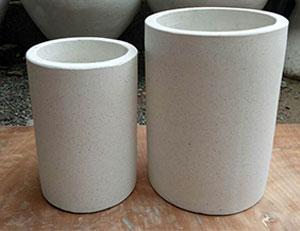 pot fleur ciment fibre blanc