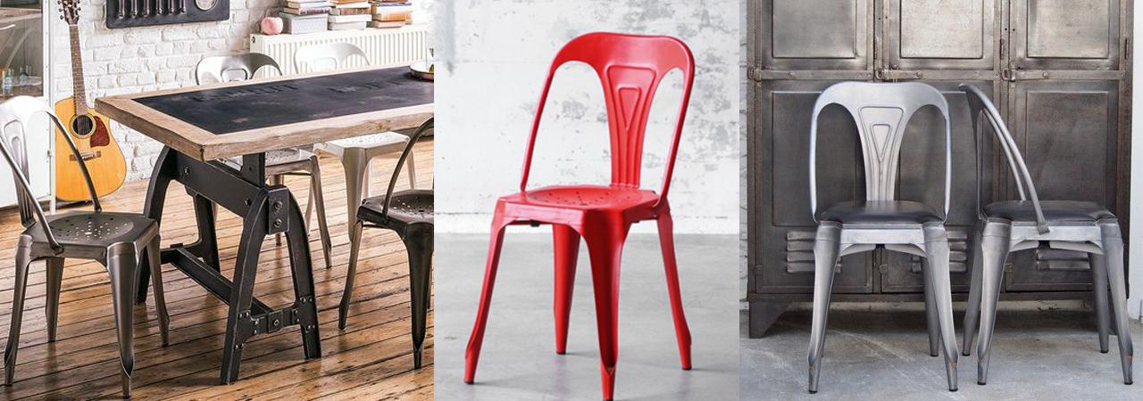chaises indus en métal
