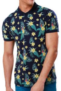 polo motif tropical homme