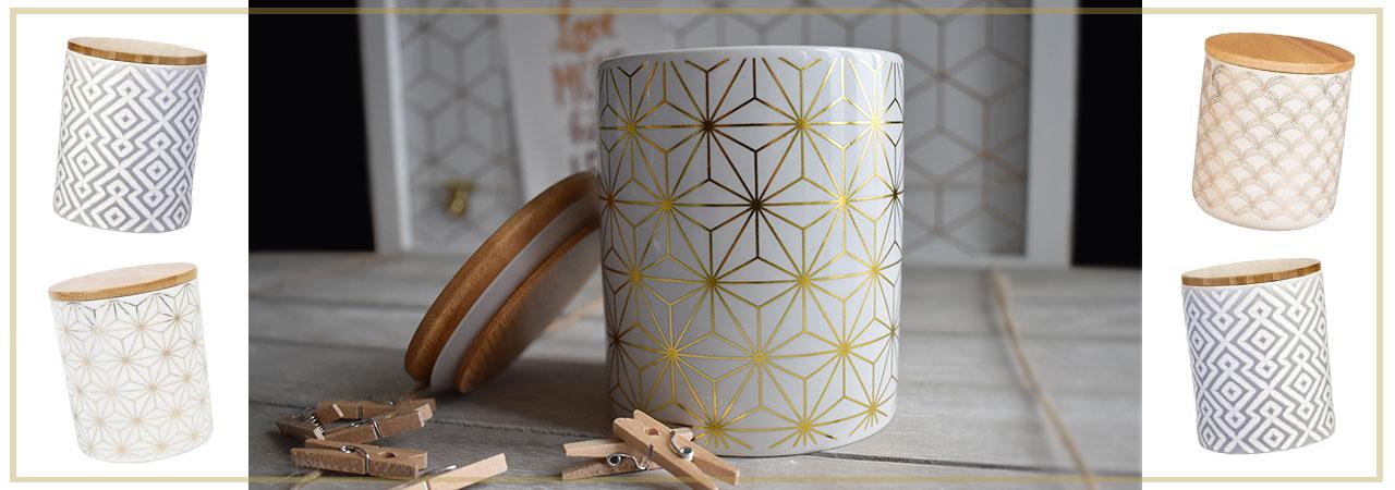 pots en céramique avec couvercle en bois