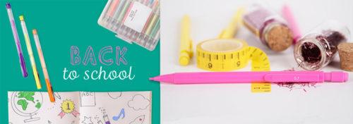 fournitures scolaire colorées