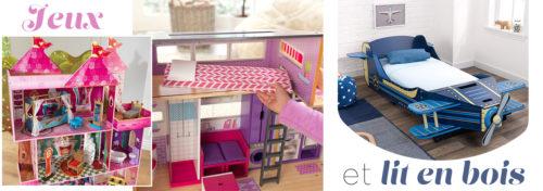 jeux et lit en bois pour enfants
