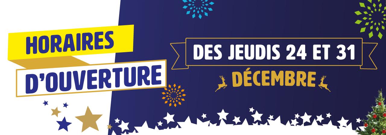 horaires d'ouverture des fêtes de fin d'année
